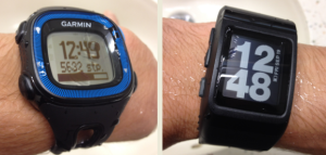 From left: The Garmin Forerunner 15 and Nike+ Sportwatch GPS after coming with me for 1000m+ swim at the local pool this morning! Still going strong!